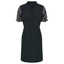 Buy Warehouse Lace Shirt Dress, Dark Green Online at johnlewis.com