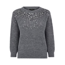 Buy Warehouse Embellished Yoke Jumper, Dark Grey Online at johnlewis.com
