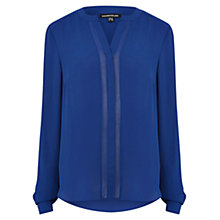 Buy Warehouse Chiffon Insert Blouse, Bright Blue Online at johnlewis.com