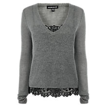 Buy Warehouse Layered V-Neck Jumper, Light Grey Online at johnlewis.com