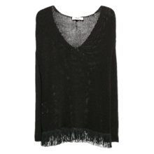 Buy Mango Fringed Hem Jumper, Black Online at johnlewis.com