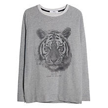 Buy Mango Tiger Print Sweatshirt, Medium Grey Online at johnlewis.com