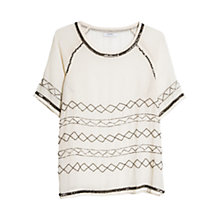 Buy Mango Crystal Embellished Blouse, Natural White Online at johnlewis.com