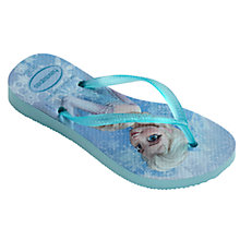 Buy Havaianas Slim Frozen Elsa & Olaf Flip Flops, Blue Online at johnlewis.com