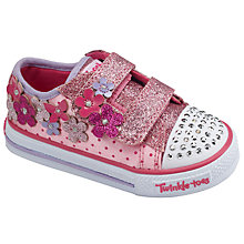 Buy Skechers Children's Twinkles Toes Shuffles Canvas Trainers, Pink/Hot Pink Online at johnlewis.com