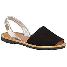 Buy Castell Madonna Leather Sandals, Black/Silver Online at johnlewis.com