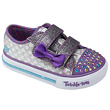 Buy Skechers Children's Twinkle Toes Sweet Steps Trainers, Gunmetal/Purple Online at johnlewis.com