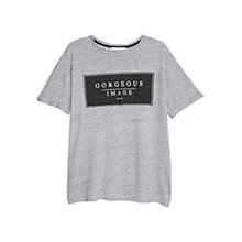 Buy Mango Printed Message T-Shirt, Light Pastel Grey Online at johnlewis.com