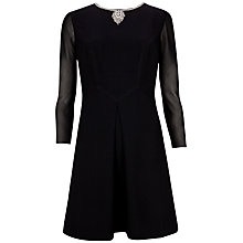 Buy Ted Baker Long Sleeve Necklace Detail Dress, Black Online at johnlewis.com