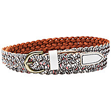 Buy Fossil Printed Braid Leather Belt, Coconut Online at johnlewis.com