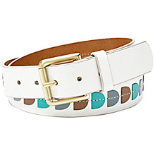 Buy Fossil Leather Appliqué Belt, Coconut Online at johnlewis.com
