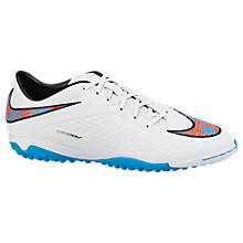 Buy Nike Hypervenom Phelon TF Astro Football Boots, White/Blue Lagoon Online at johnlewis.com
