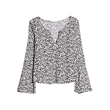 Buy Mango Animal Print Blouse, White/Black Online at johnlewis.com