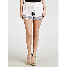 Buy John Lewis Embroidered Cotton Shorts, White Online at johnlewis.com