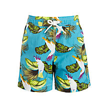 Buy Hackett London Boys' Tropical Bird Print Swim Shorts, Blue Online at johnlewis.com