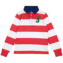 Buy Hackett London Boys' Long Sleeve Stripe Rugby Shirt, Red/White Online at johnlewis.com