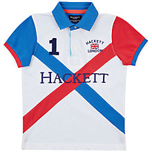 Buy Hackett London Boys' Cross Panel Polo Shirt, White/Blue Online at johnlewis.com