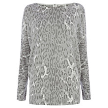 Buy Oasis Animal Print Jumper, Mid Grey Online at johnlewis.com