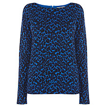 Buy Oasis Saphire Animal Print Jumper, Rich Blue Online at johnlewis.com