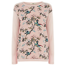 Buy Oasis Bird and Floral Woven Top, Pale Pink Online at johnlewis.com