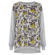 Buy Oasis Shadow Floral Woven Front Top, Mid Grey Online at johnlewis.com