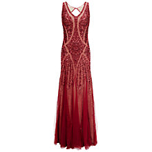 Buy Adrianna Papell V-Neck Bead Dress, Chianti Online at johnlewis.com