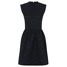 Buy Oasis Jacquard Lace Skater Dress, Mid Blue Online at johnlewis.com