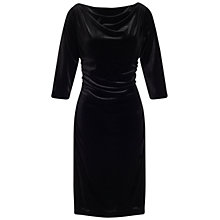 Buy Adrianna Papell Shirring Detail Velvet Draped Dress, Black Online at johnlewis.com