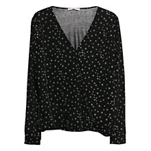 Buy Mango Wrap Neckline Blouse, Black Online at johnlewis.com