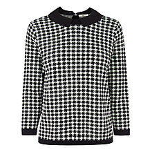 Buy Oasis Dogtooth Collar Jumper, Black / White Online at johnlewis.com