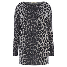 Buy Oasis Animal Faux Leather Trim Top, Mid Grey Online at johnlewis.com