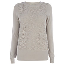 Buy Oasis Lace Front Top, Neutral Online at johnlewis.com