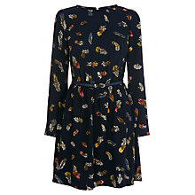 Buy Oasis Feather Print Pleat Neck Dress, Navy Online at johnlewis.com