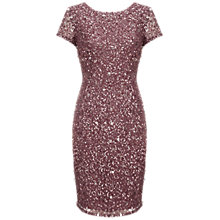 Buy Adrianna Papell Beaded Cap Sleeve Dress, Dusty Plum Online at johnlewis.com