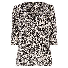 Buy Oasis Flower Texture Tabby Top, Black / White Online at johnlewis.com