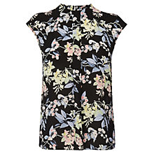 Buy Warehouse Wisteria Floral Top, Black Online at johnlewis.com