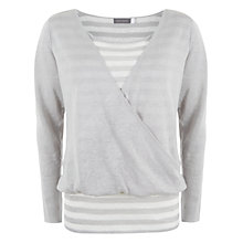 Buy Mint Velvet Stripe Wrap Knit Top, Grey / Ivory Online at johnlewis.com