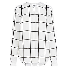 Buy Warehouse Window Pane Check Blouse, White Online at johnlewis.com