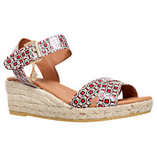 Buy Kurt Geiger Libby Espadrille Wedge Sandals, Red/Multi Leather Online at johnlewis.com