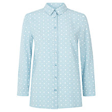 Buy Hobbs Dot Shirt, Dusty Blue Ivory Online at johnlewis.com