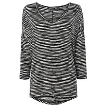 Buy Warehouse Stripe Jersey Top, Black Online at johnlewis.com
