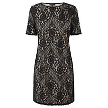 Buy Warehouse Lace Shift Dress, Black Online at johnlewis.com