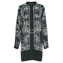 Buy Warehouse Chrysanthemum Print Dress, Green Online at johnlewis.com