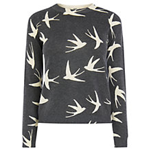 Buy Oasis Printed Swallow Jumper, Mid Grey Online at johnlewis.com