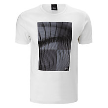 Buy BOSS Black Terni 120 Logo T-Shirt, White/Grey Online at johnlewis.com