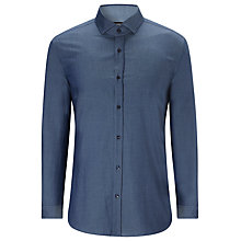 Buy BOSS Mason4 Cotton Twill Spot Shirt, Blue Online at johnlewis.com