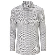 Buy BOSS Jaser Geometric Print Shirt, White/Charcoal Online at johnlewis.com