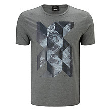 Buy BOSS Lecco Graphic Design T-Shirt, Charcoal Online at johnlewis.com