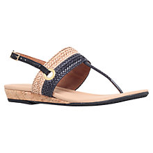 Buy Carvela Comfort Selina Toe Post Sandals, Black/Beige Leather Online at johnlewis.com