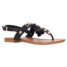 Buy Carvela Krimp Flat Tassel Detail Sandals, Black Leather Online at johnlewis.com